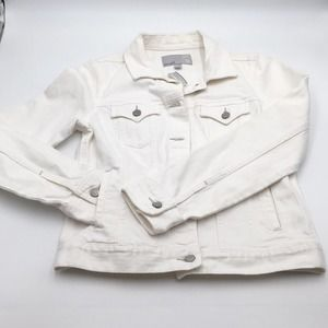 NEW OLD NAVY white trucker denim jacket classic M